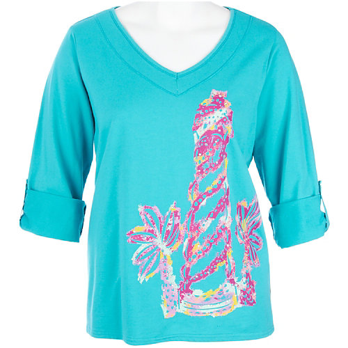 SunBay Plus Lighthouse Palm Tree Print Top