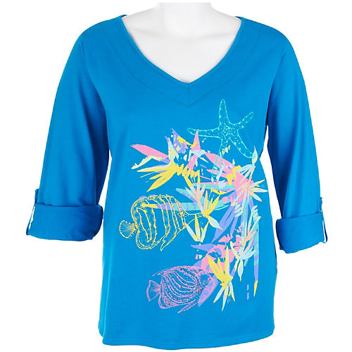 SunBay Plus Tropical Reef Print Top
