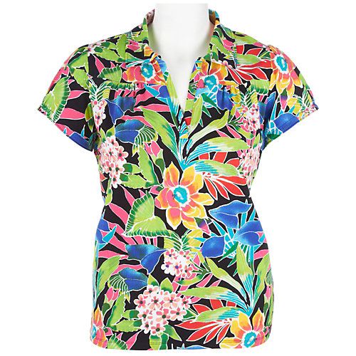 Caribbean Joe Plus Tropical Bouquet Polo Shirt