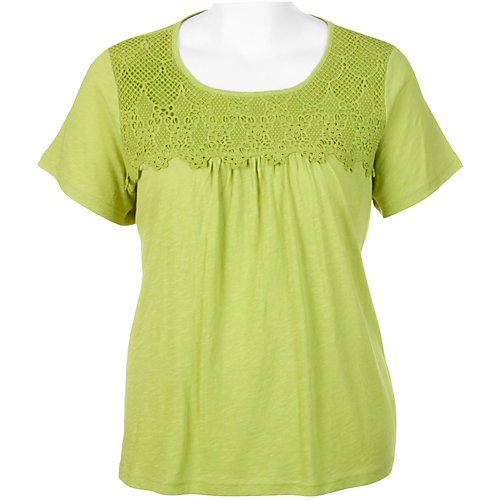 Caribbean Joe Plus Solid Lace Trim Top