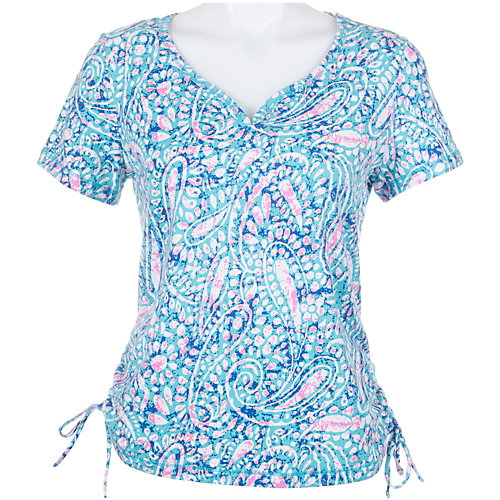 Caribbean Joe Petite Paisley Side Ruch Top