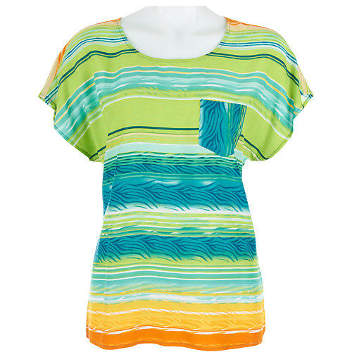 Nue Options Petite Watercolor Stripe Top