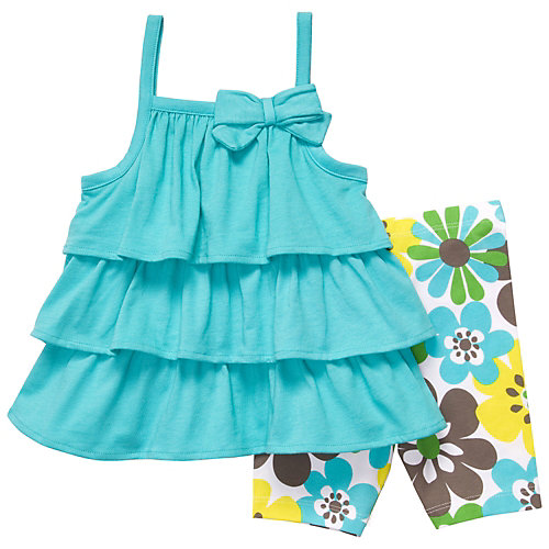 Carters Toddler Ruffle Top & Flower Short Set