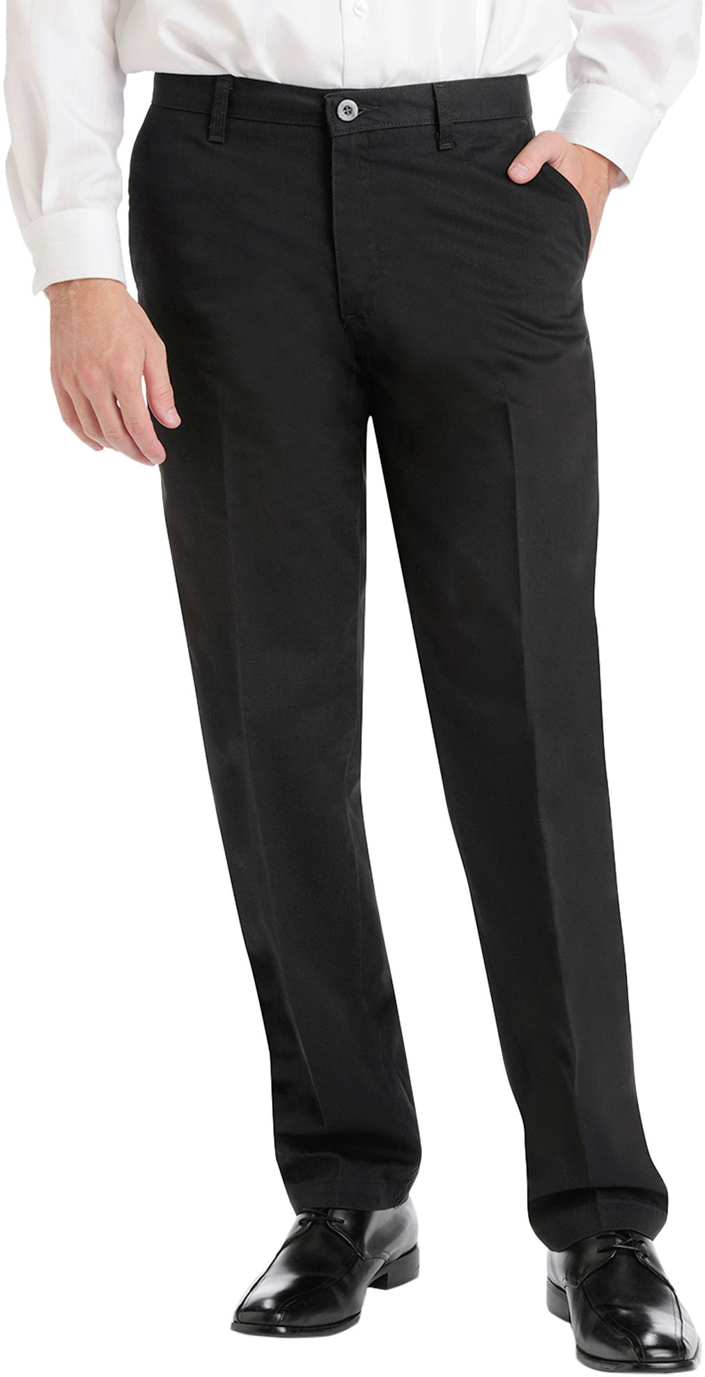 Mens Big & Tall Architect® premium no-iron stretch pants with a flat front detail is the casual piece for any man's closet. Features include a comfortable extender waist and button closure back pockets. 29 inch inseam. 99% Cotton. 1% Spandex.