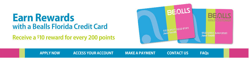 Get Rewards with yoru Bealls Florida Credit Card