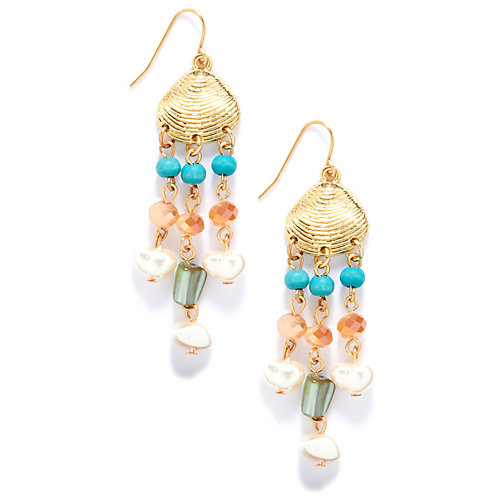 Carol Dauplaise Shell Charm Beaded Earrings