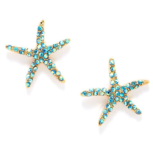 Carol Dauplaise Blue Rhinestone Starfish Earrings