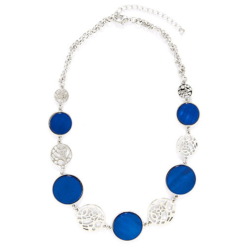 Carol Dauplaise Blue Disc Filigree Short Necklace