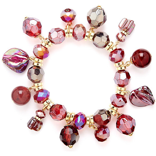 Carol Dauplaise Red Beaded Shaky Stretch Bracelet