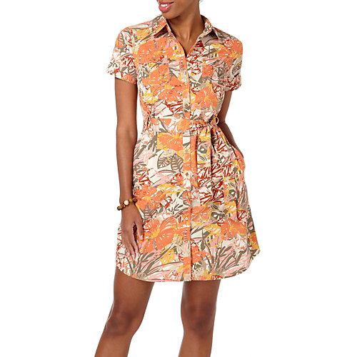 IZOD Garden Print Tie Waist Shirt Dress