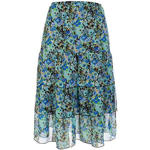Notations� Tiered Aqua Floral Print Skirt