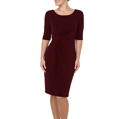 Connected Apparel Pleated Faux Wrap Dress