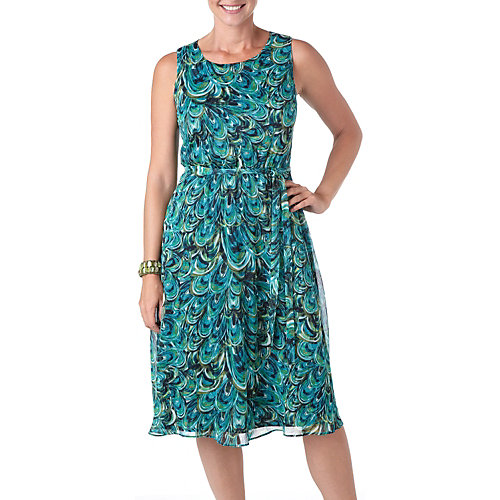 Connected Apparel Peacock Print Tie Waist Dress