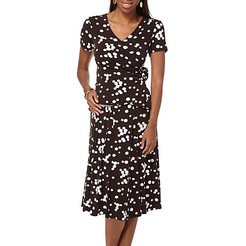 Perceptions Polka Dots Faux Wrap Top & Skirt Set