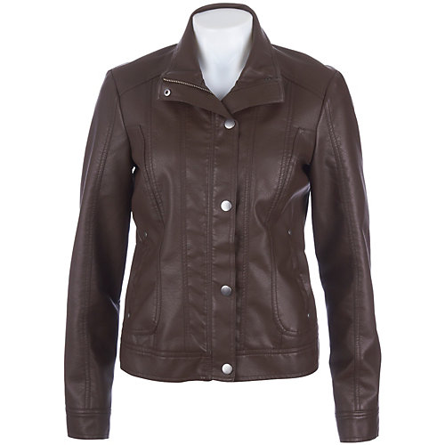 91c3913fdf265 Baccini Faux Leather Snap Front Bomber Jacket