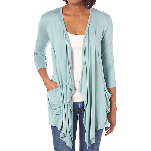 Moa Moa� Pocketed Flyaway Cardigan Sweater