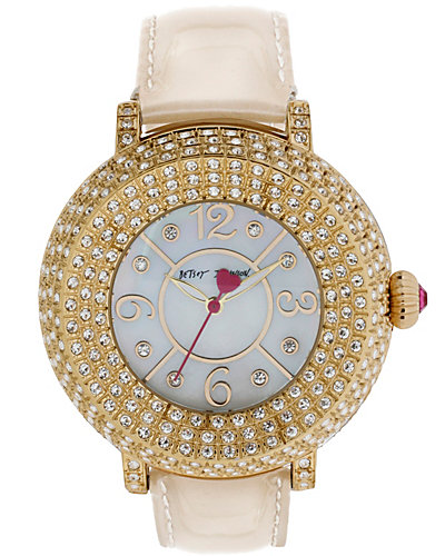 3 ROW CRYSTAL FACE GOLD WATCH GOLD