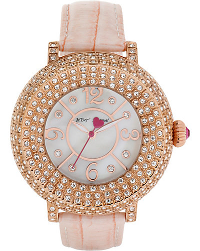 3 ROW CRYSTAL FACE ROSE GOLD WATCH ROSE GOLD