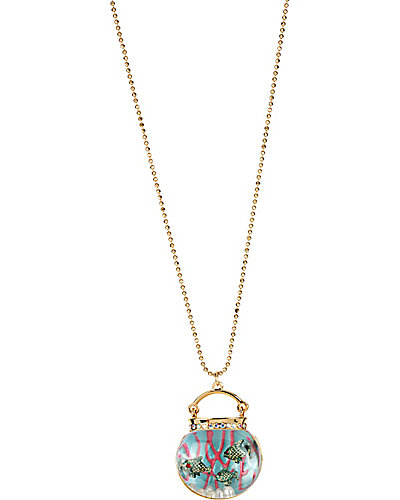 3D FISH BOWL LONG PENDANT BLUE