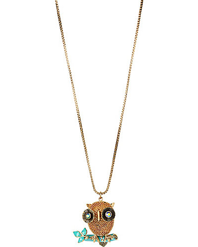 3D GOLD OWL LONG PENDANT MULTI