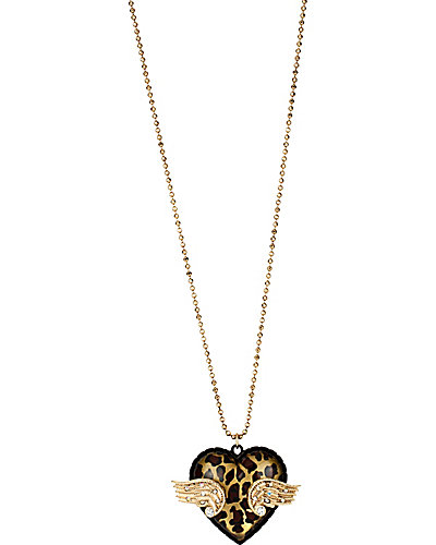 3D HEART LONG PENDANT LEOPARD