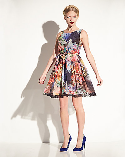 ALLOVER FLORAL SLEEVELESS DRESS MULTI