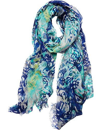 ANIMAL GAUZE SCARF BLUE
