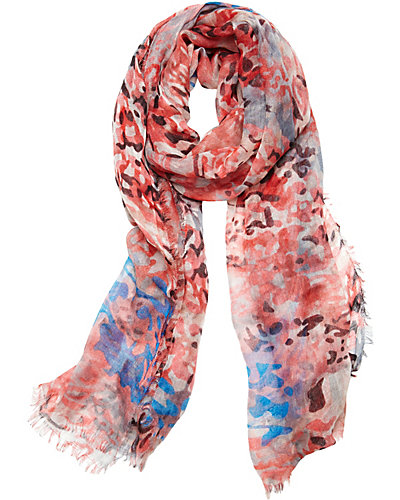ANIMAL GAUZE SCARF CORAL