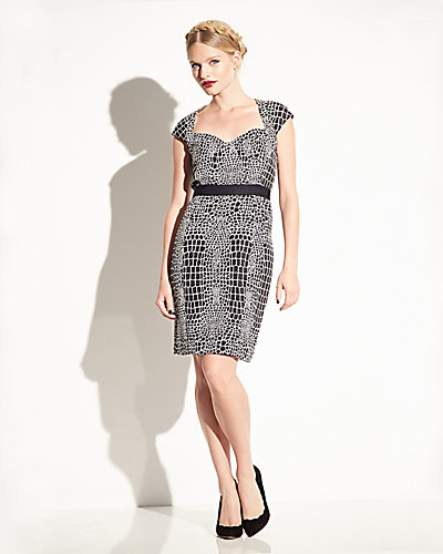 ANIMAL PRINT CAP SLEEVE DRESS BLACK-WHITE