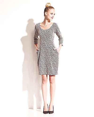 ANIMAL PRINT LONG SLEEVE SHIFT DRESS BLACK TAN