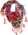 APPLE ROSE TASSEL SCARF CORAL