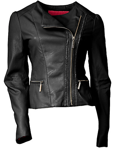 ASYMMETRIC ZIP FAUX LEATHER JACKET BLACK