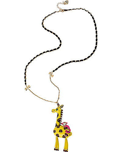 AT THE ZOO GIRAFFE LONG PENDANT YELLOW