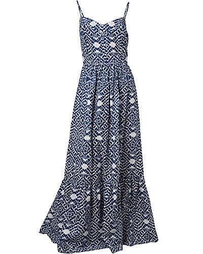 AZTEC PRINTED MAXI DRESS NAVY