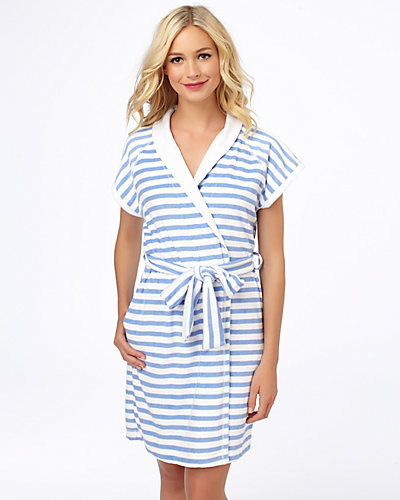 BABY TERRY ROBE BLUE WHITE