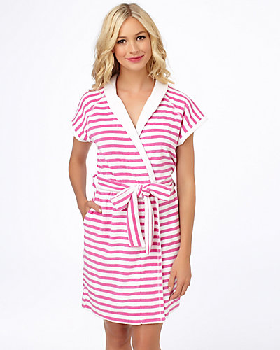 BABY TERRY ROBE PINK WHITE