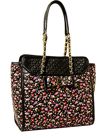 BE MY HONEY BUNS NORTH SOUTH TOTE BLACK MULTI