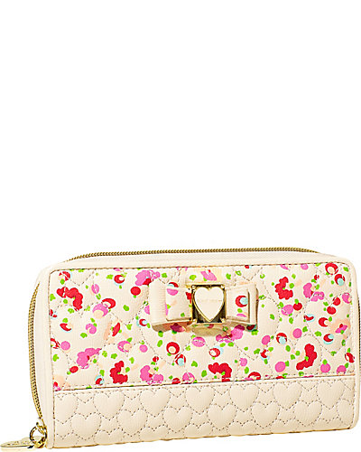 BE MY HONEY BUNS ZIP AROUND WALLET CREAM MULTI