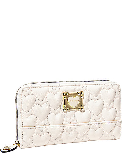 BE MY SWEETHEART ZIP AROUND WALLET CREAM