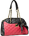BE MY WONDERFUL DOME SATCHEL BLACK FUSCHIA