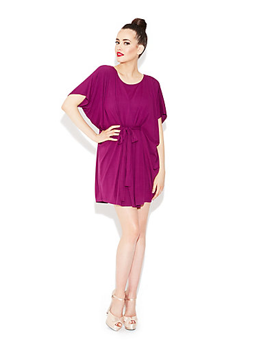 BELTED DOLMAN DRESS BURGUNDY