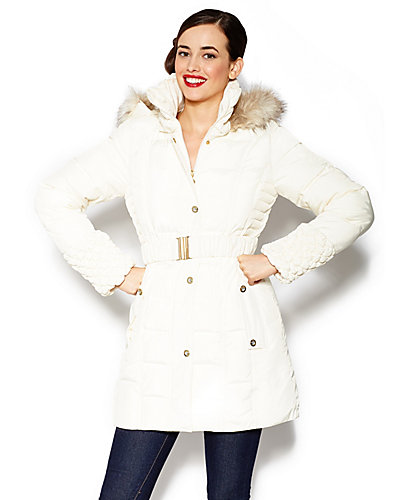 BETSEY ANGEL HOODED AND BELTED COAT IVORY