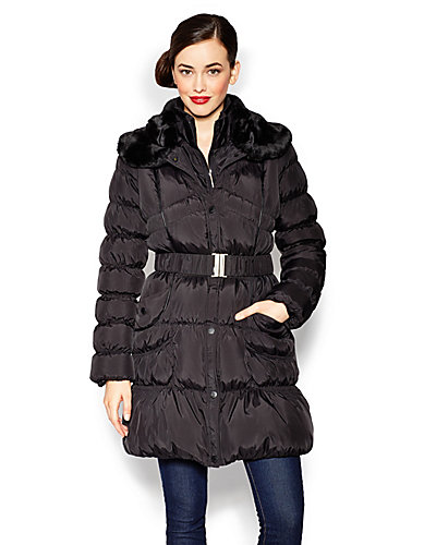 BETSEY DOWN FUR COLLAR BELTED COAT BLACK
