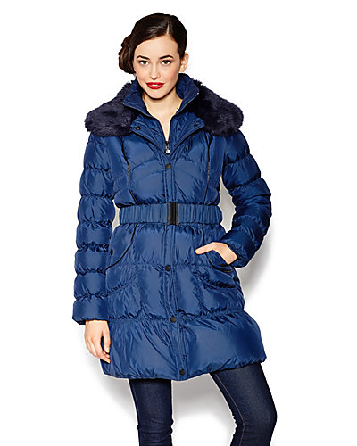 BETSEY DOWN FUR COLLAR BELTED COAT NAVY
