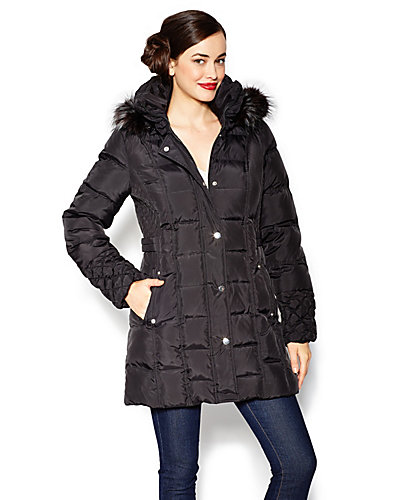 BETSEY DOWN FUR TRIMMED HOOD COAT BLACK