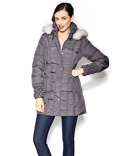 BETSEY DOWN FUR TRIMMED HOOD COAT GREY