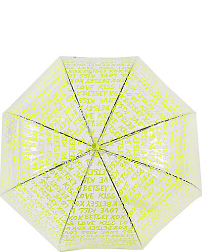 BETSEY GRAFFITI BUBBLE STICK UMBRELLA YELLOW