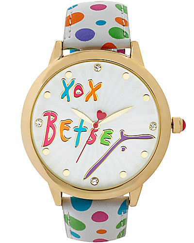 BETSEY LOVES MOMS DOTTED WATCH MULTI