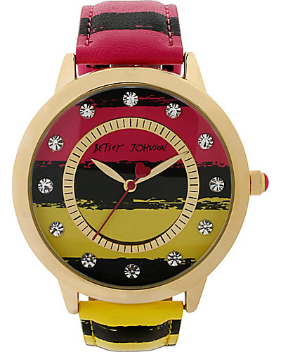 BETSEY LOVES MOMS WIDE STRIPE WATCH MULTI