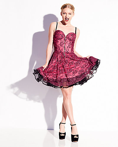 BETSEY PINK ZIP FRONT PARTY DRESS PINK